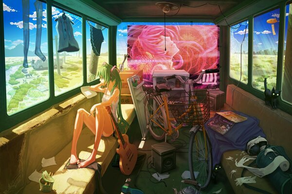 vocaloid girl guitar Hatsune miku bike clothing