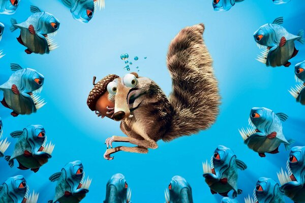 Squirrel from the movie ice age nut saves from piranhas
