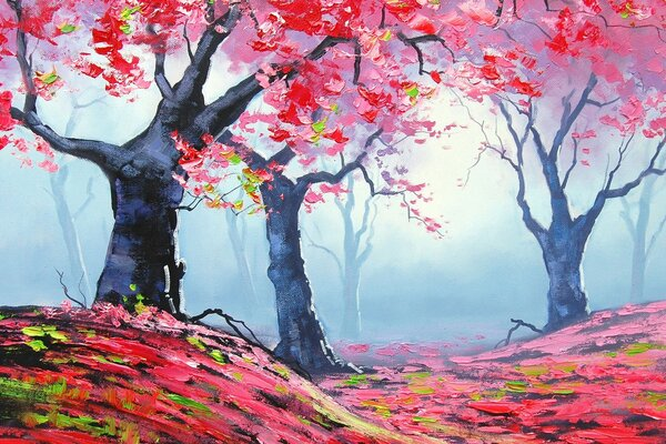 Autumn Red Forest Painting