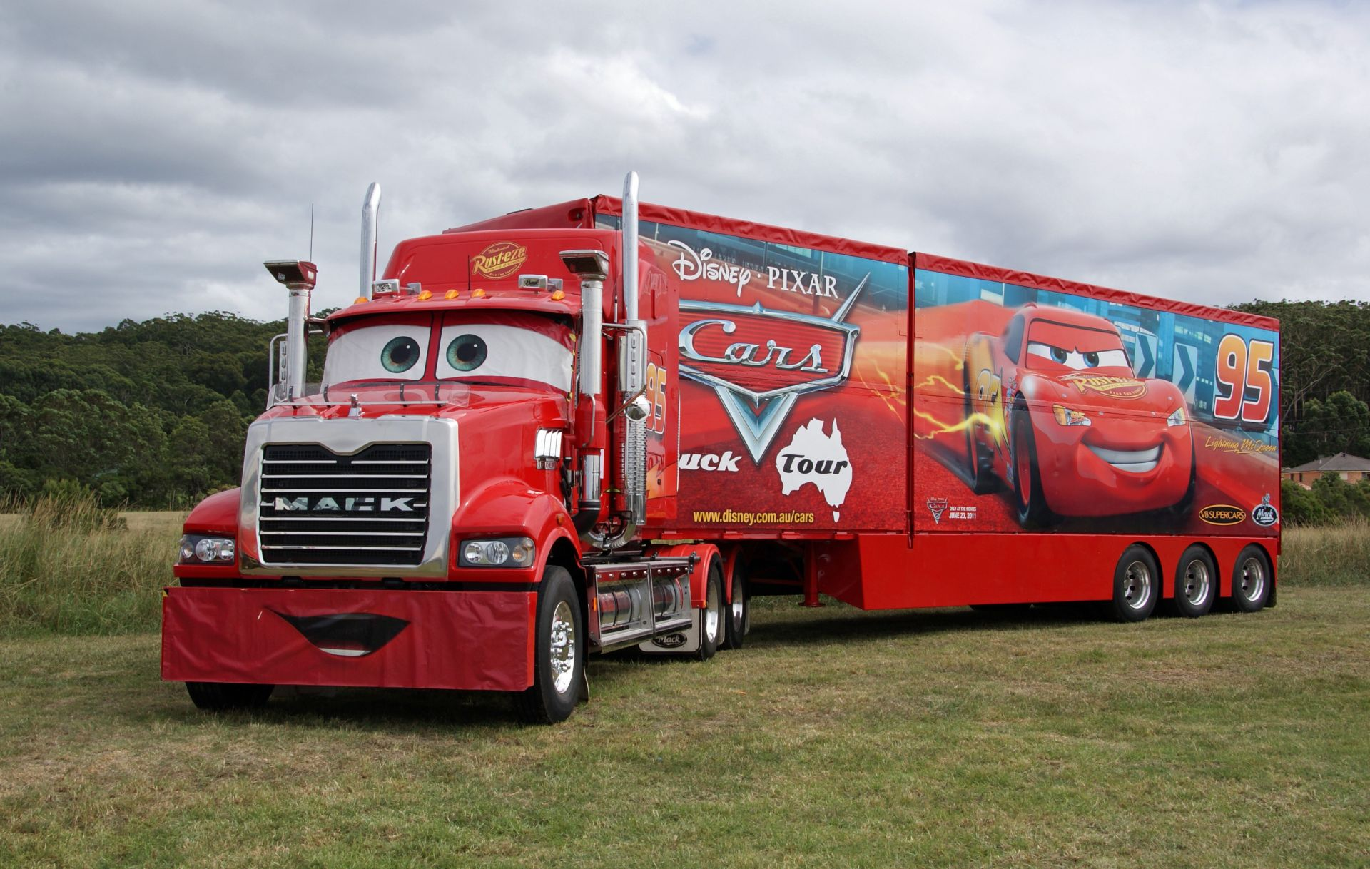 cars truck Mack tractor trailer truck red pixar