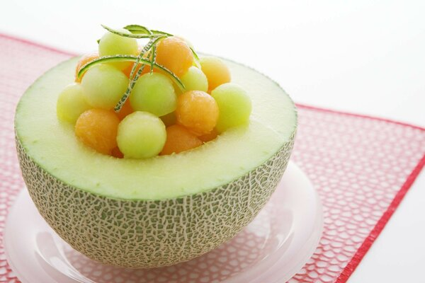 Food plate of fruit melon grapes background