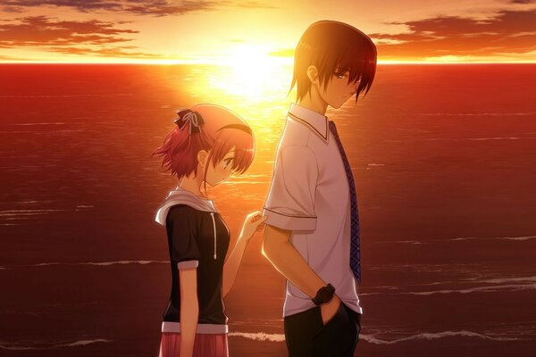 love the sunset mood night Anime two