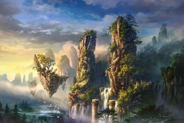 landscape mountains rocks fog a column of birds waterfall Art