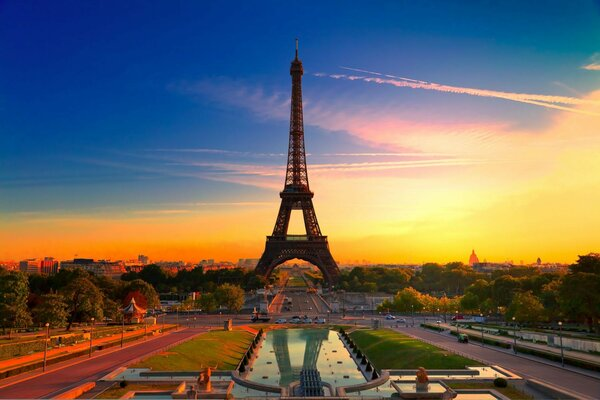 Paris beautiful france Paris Eiffel tower sunset city