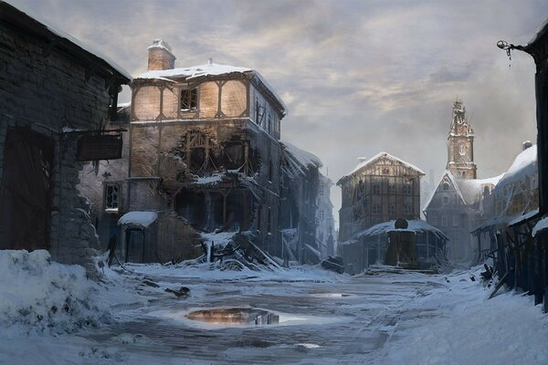 the city figure art winter devastation