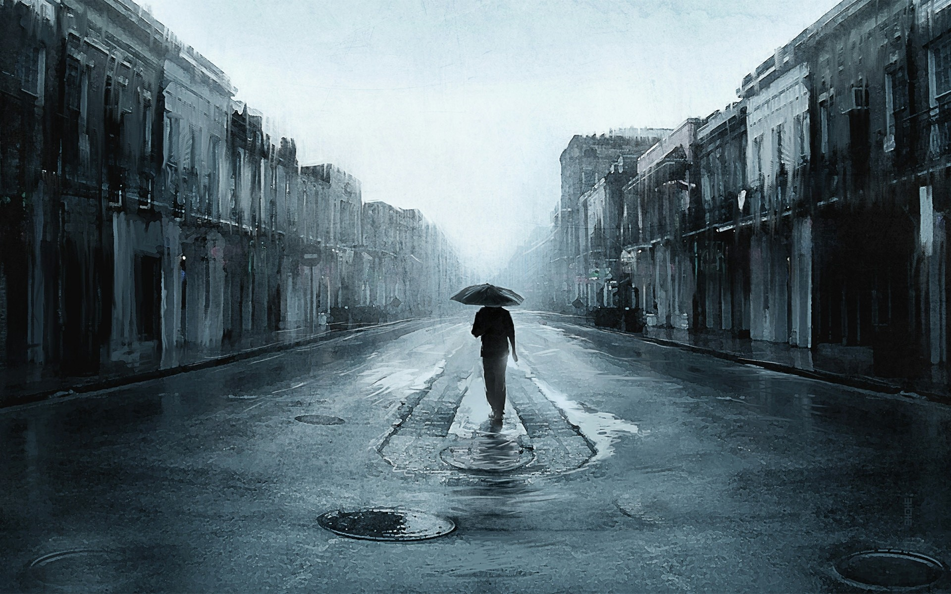 Walking In Rain Painting Android Wallpapers For Free