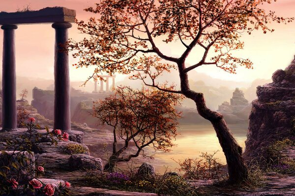 flowers art nature trees ruins columns figure