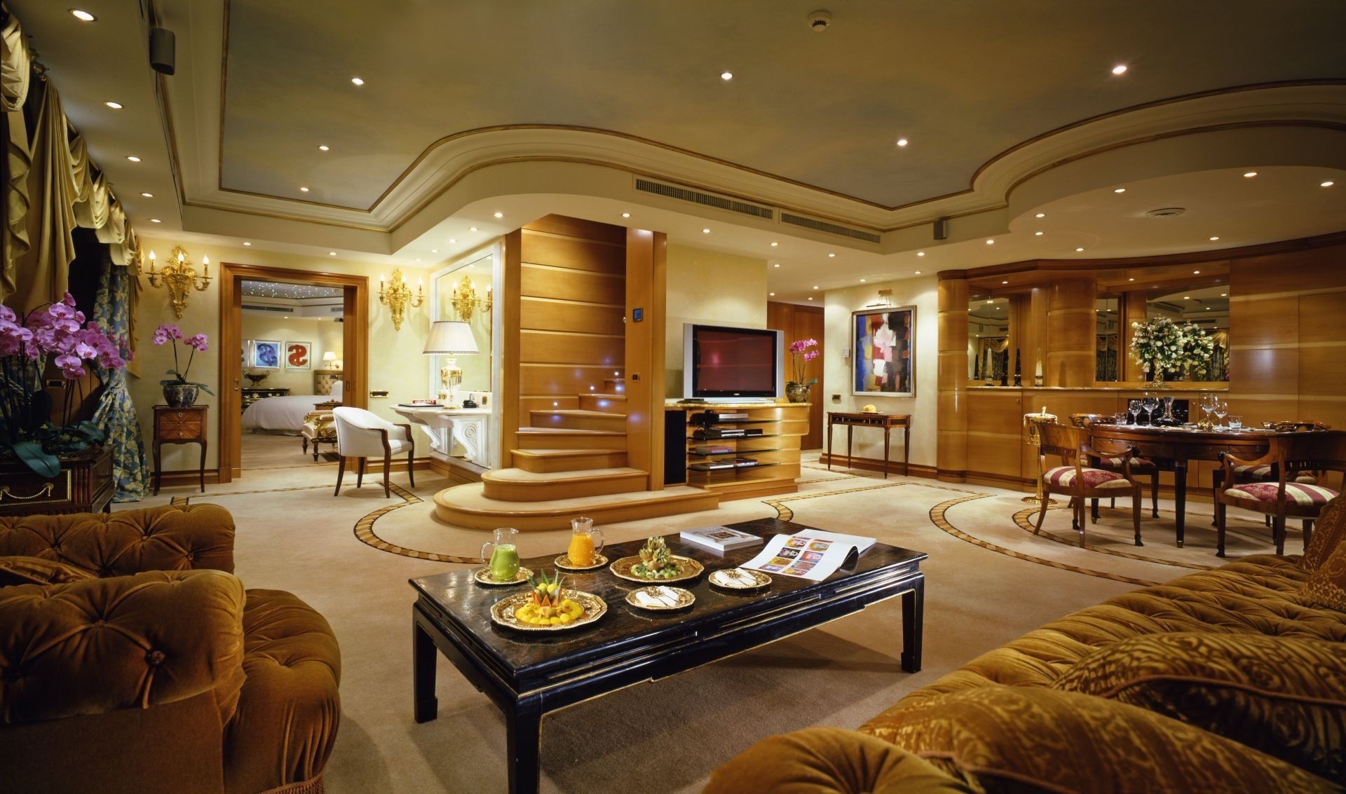 TV stair penthouse Apartment luxury chandelier