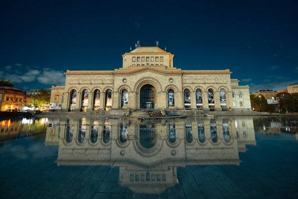 Armenia, Yerevan, Building Reflection in Water, Hayk Barseghyans