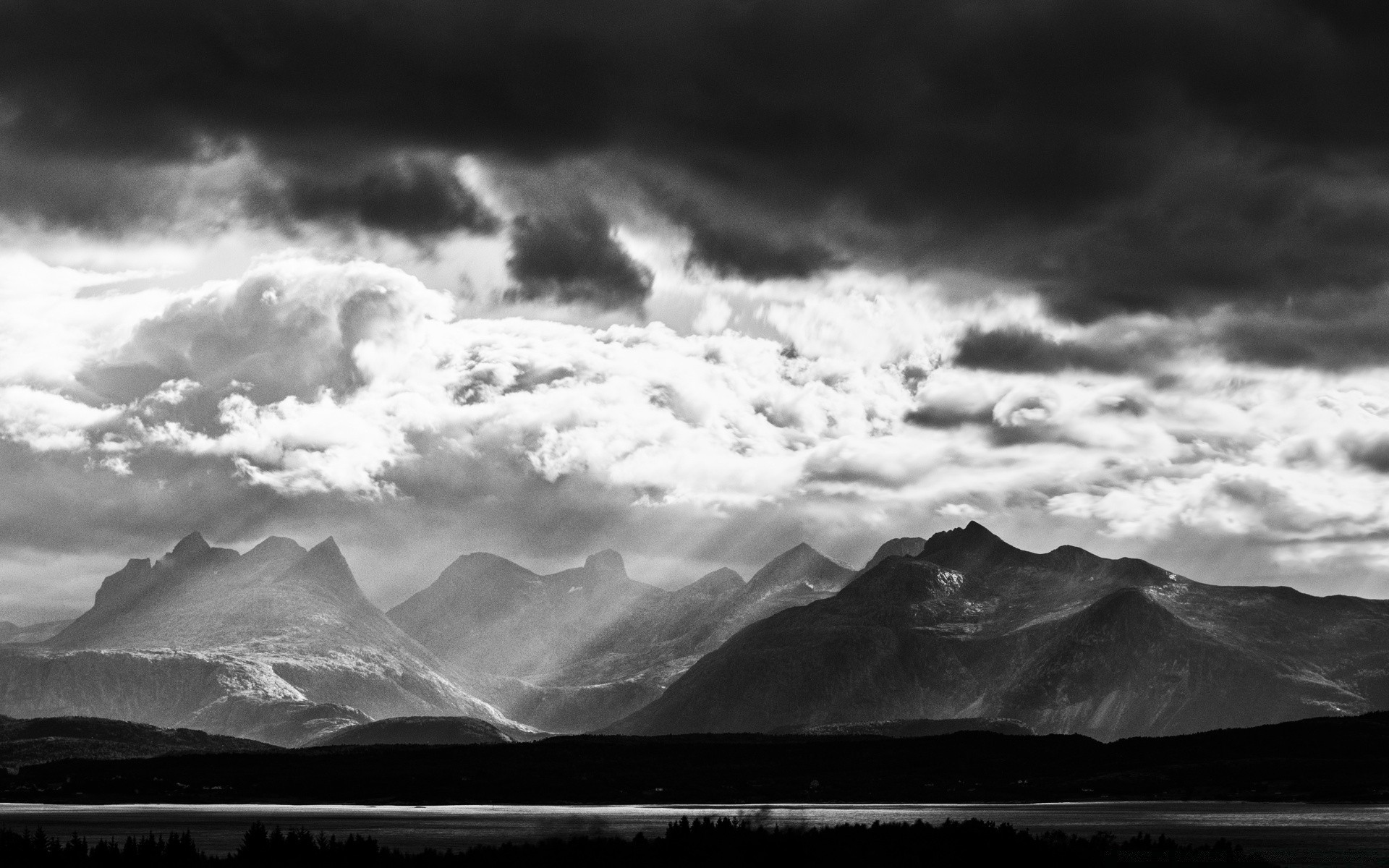 Mountains Black And White Landscape Phone Wallpapers