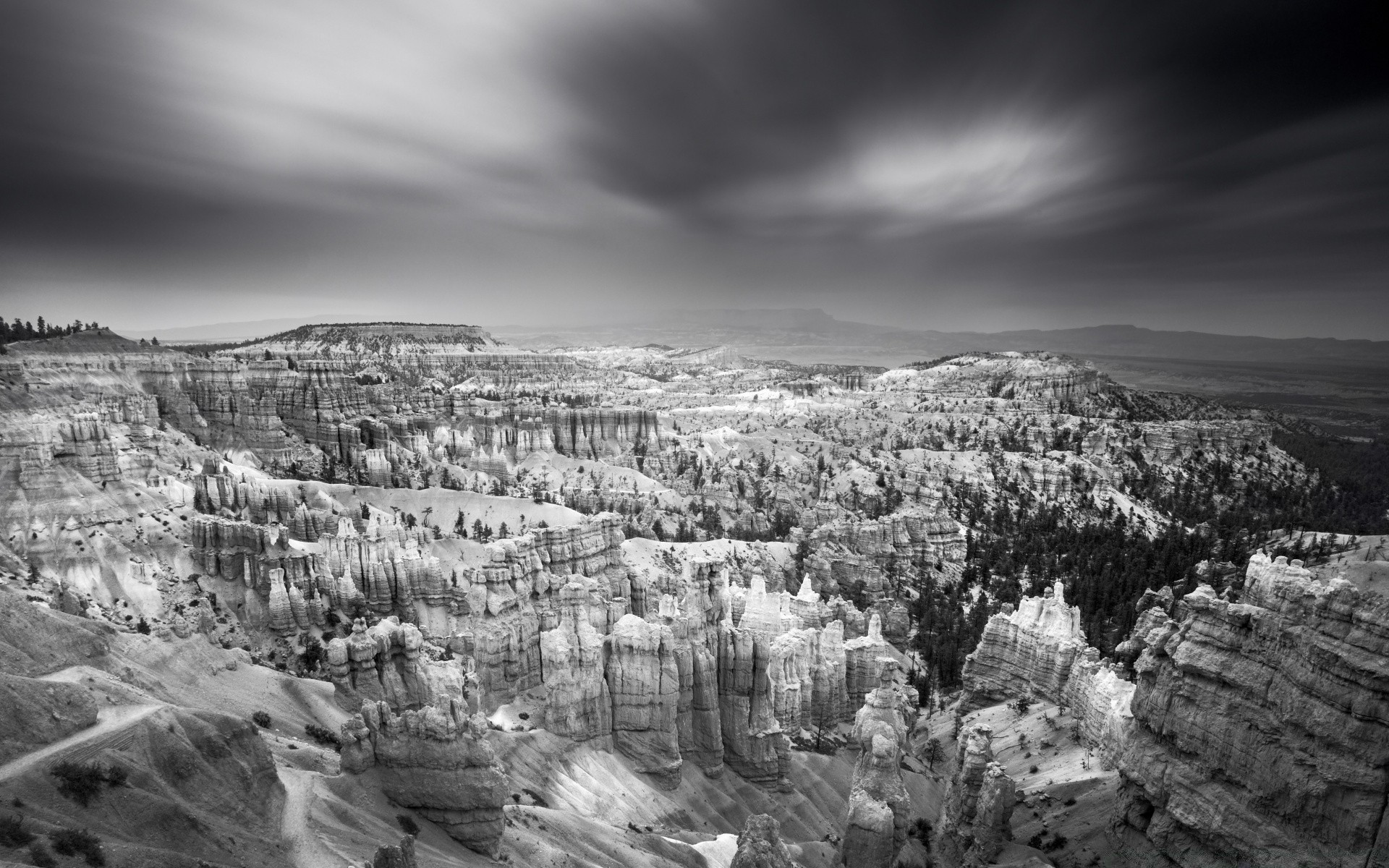 Bryce Canyon National Park Black And White Phone Wallpapers