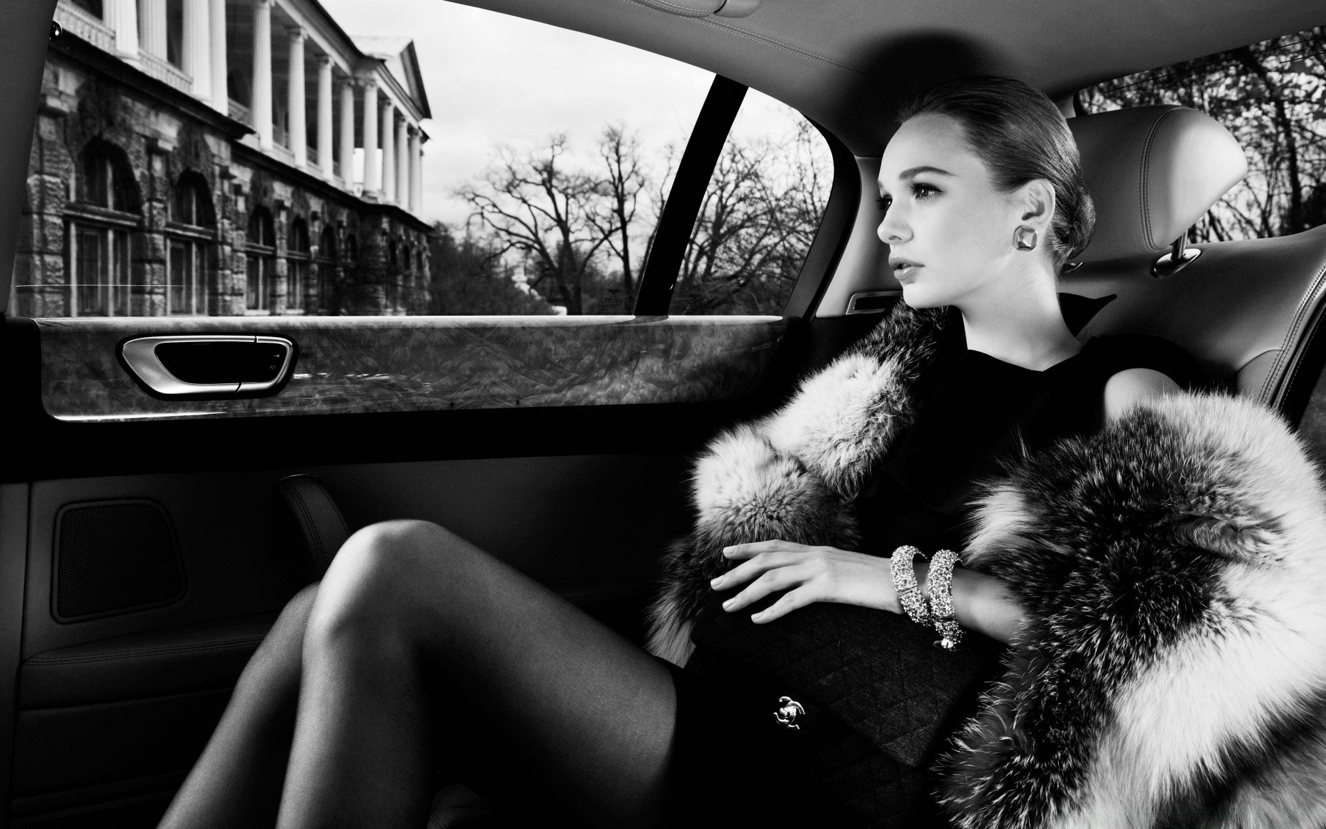black and white street car woman portrait monochrome adult girl one outdoors fashion vehicle travel city model urban transportation system sexy