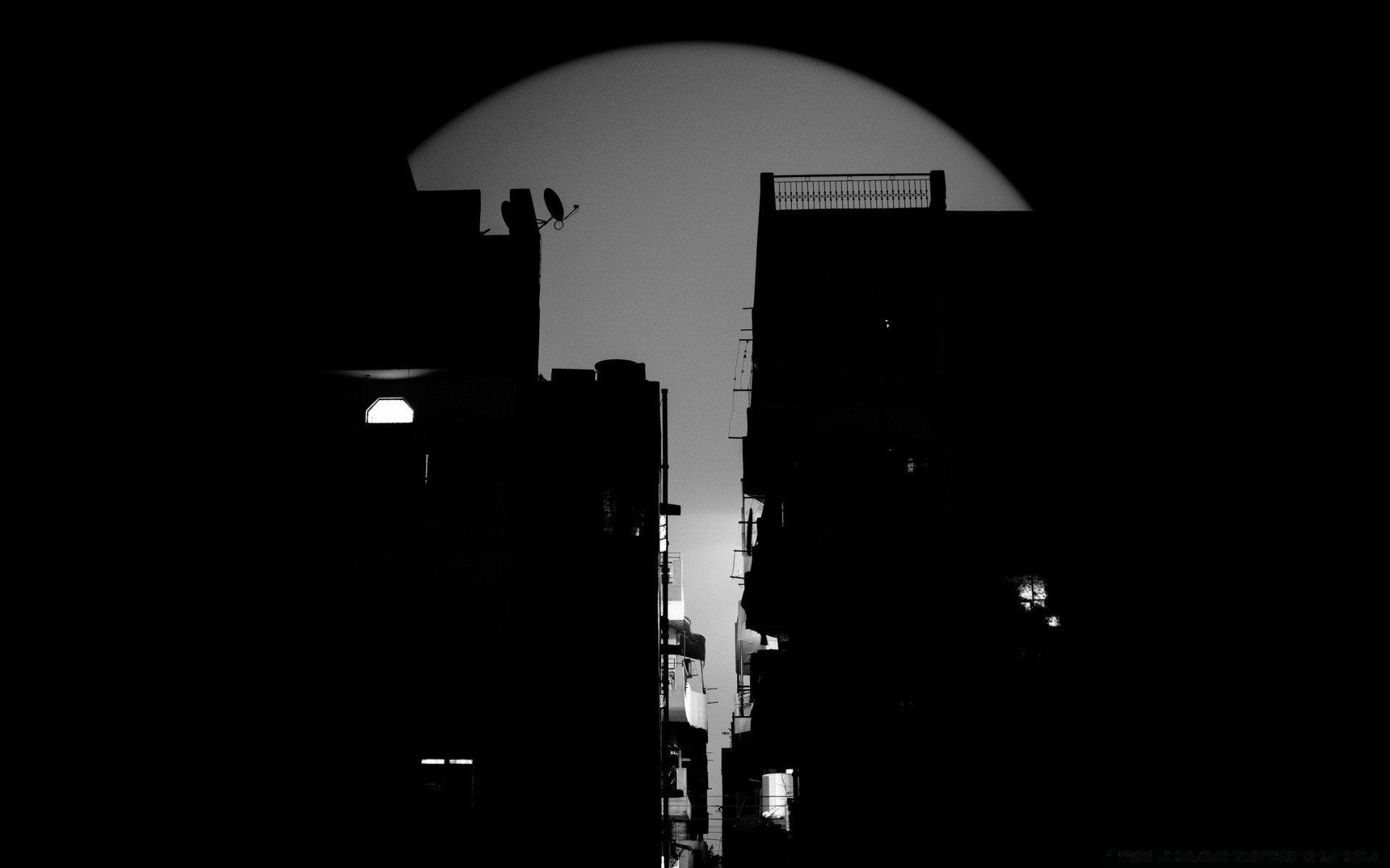 black and white light street monochrome silhouette travel moon city sky