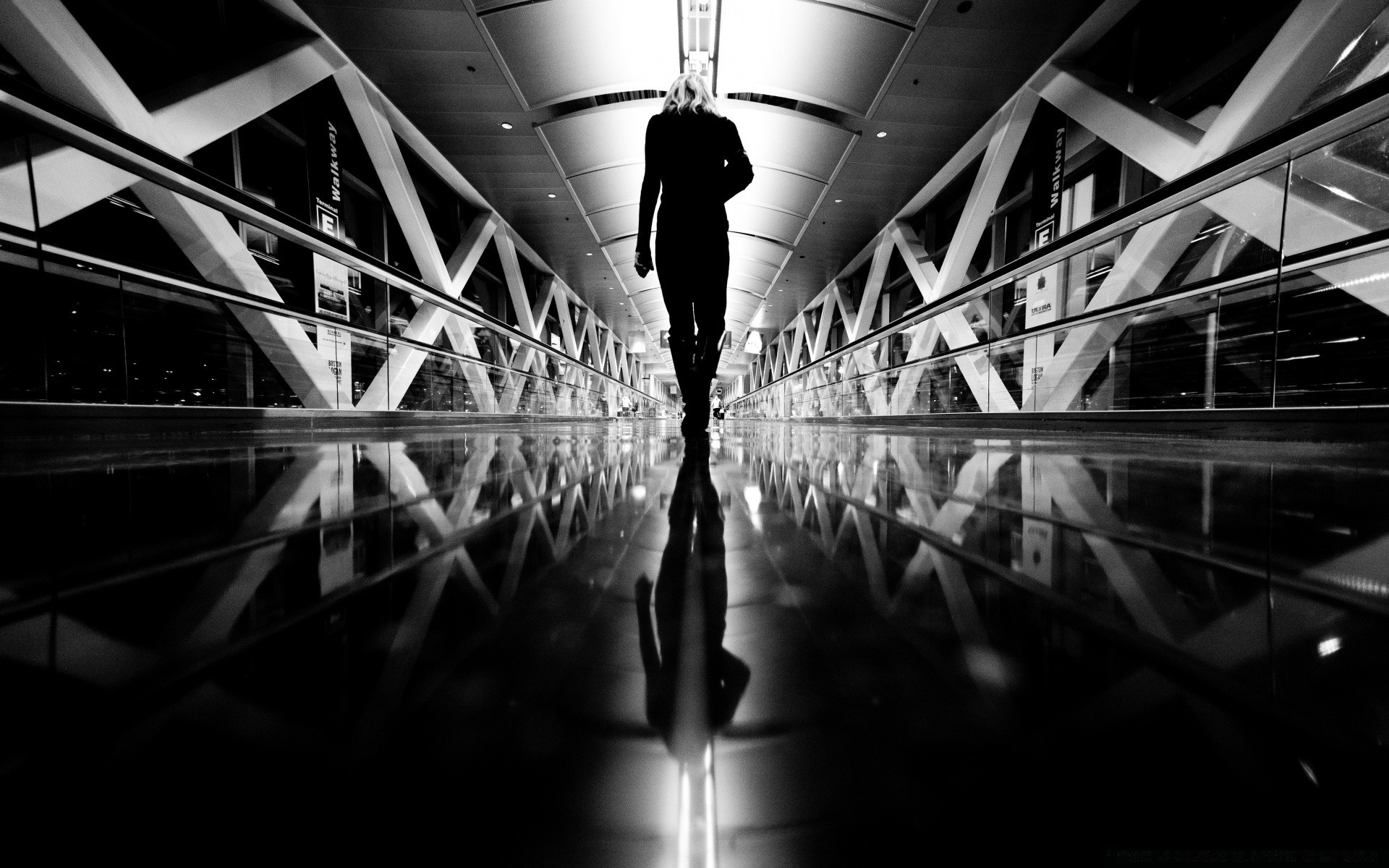 black and white monochrome airport tube city light reflection street blur abstract indoors urban mono architecture