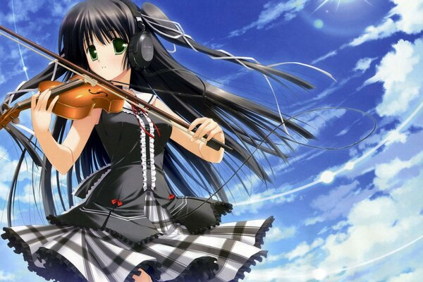 sky headphones girl Anime view form the violin