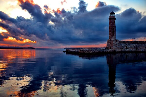 reflection sunset Sky clouds lighthouse