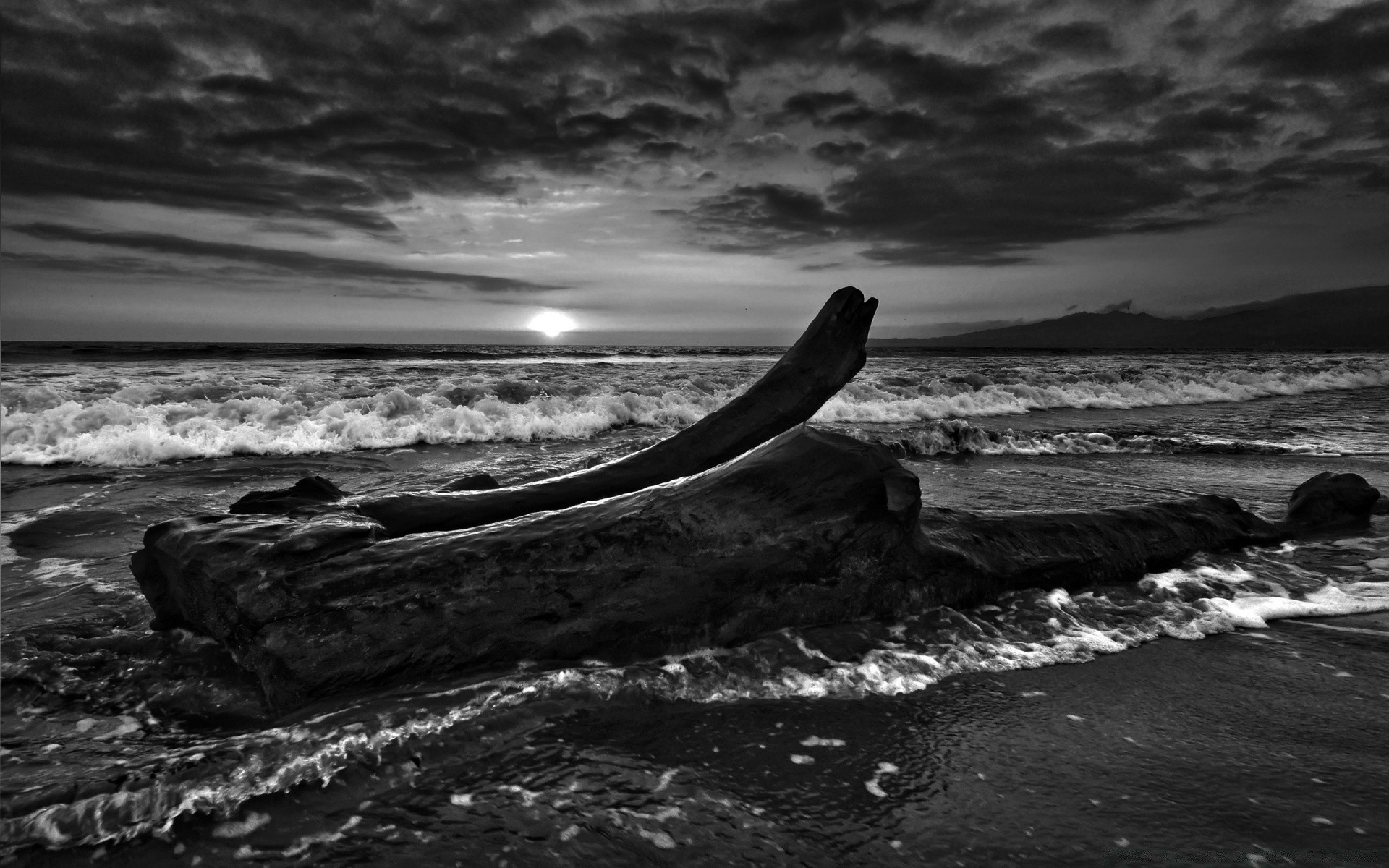 black and white ocean sea water beach sunset seascape surf seashore storm dawn monochrome landscape wave evening dusk rock sky sun dramatic