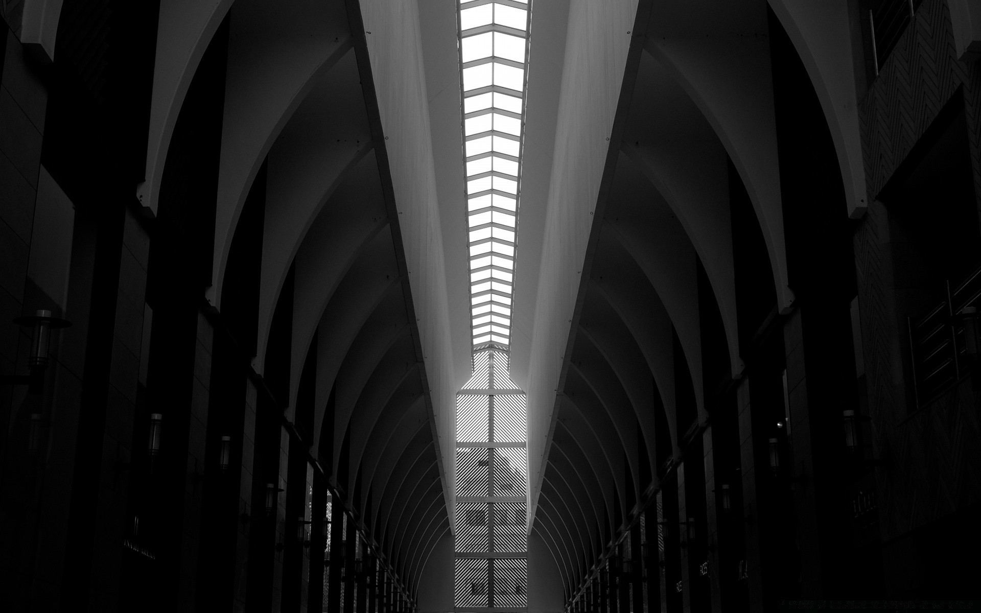 black and white architecture tunnel indoors hallway monochrome ceiling tube light city building bridge passage urban construction shadow perspective glass dark window