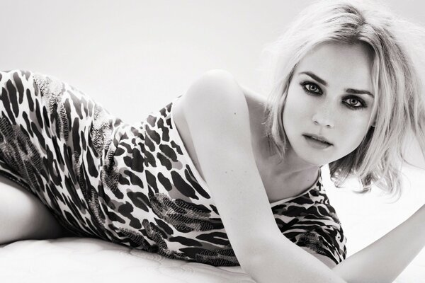 Diane Kruger Black And White Photo