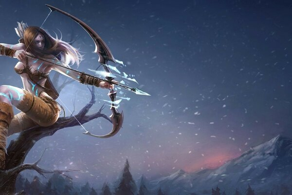 snow Archer girl tree mountains League of legends ice