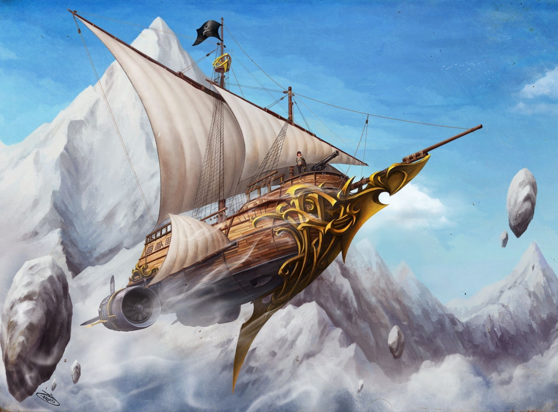 man sails the ship flying stones, rocks Art