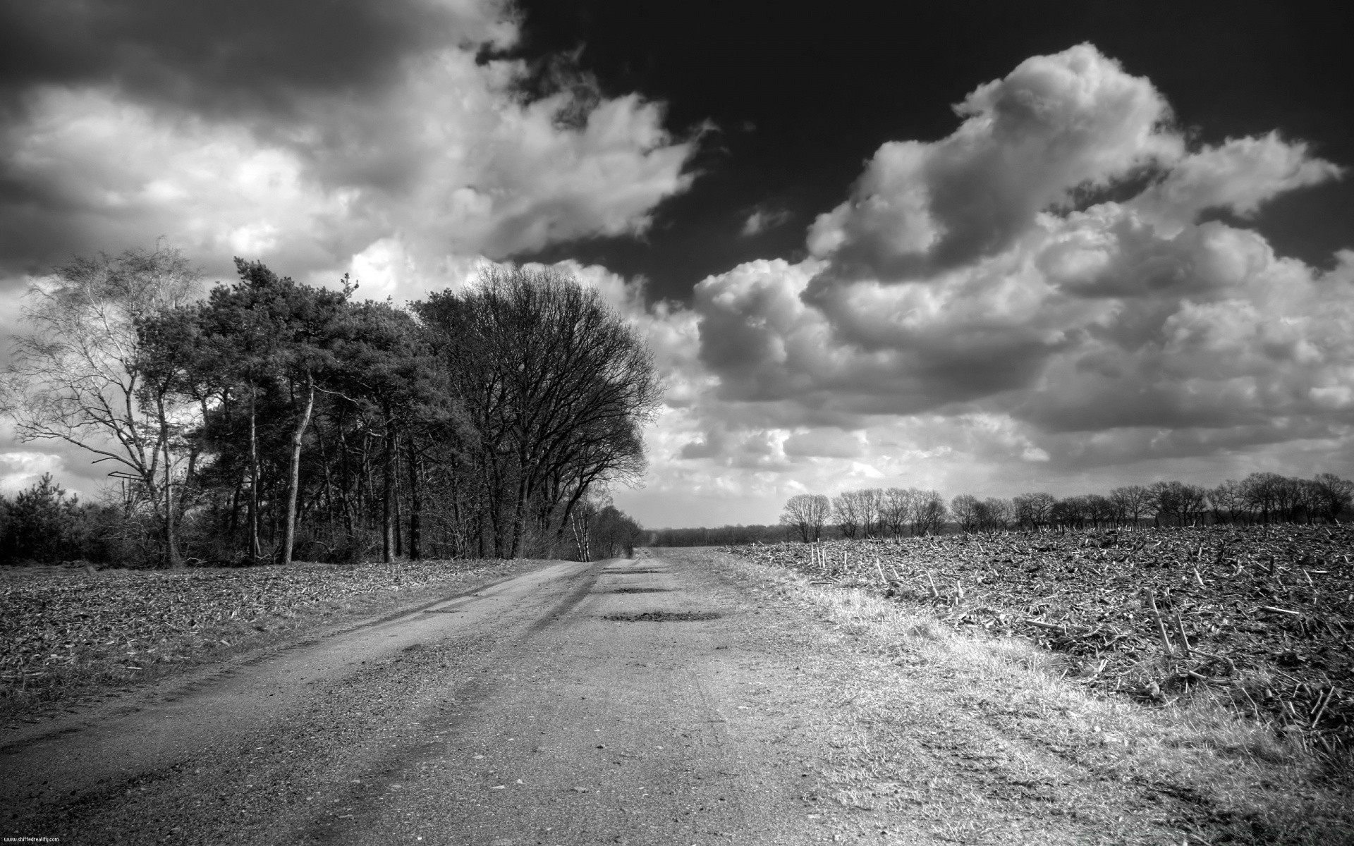 black and white monochrome road landscape tree nature sky street guidance storm rural dark field fall cloud