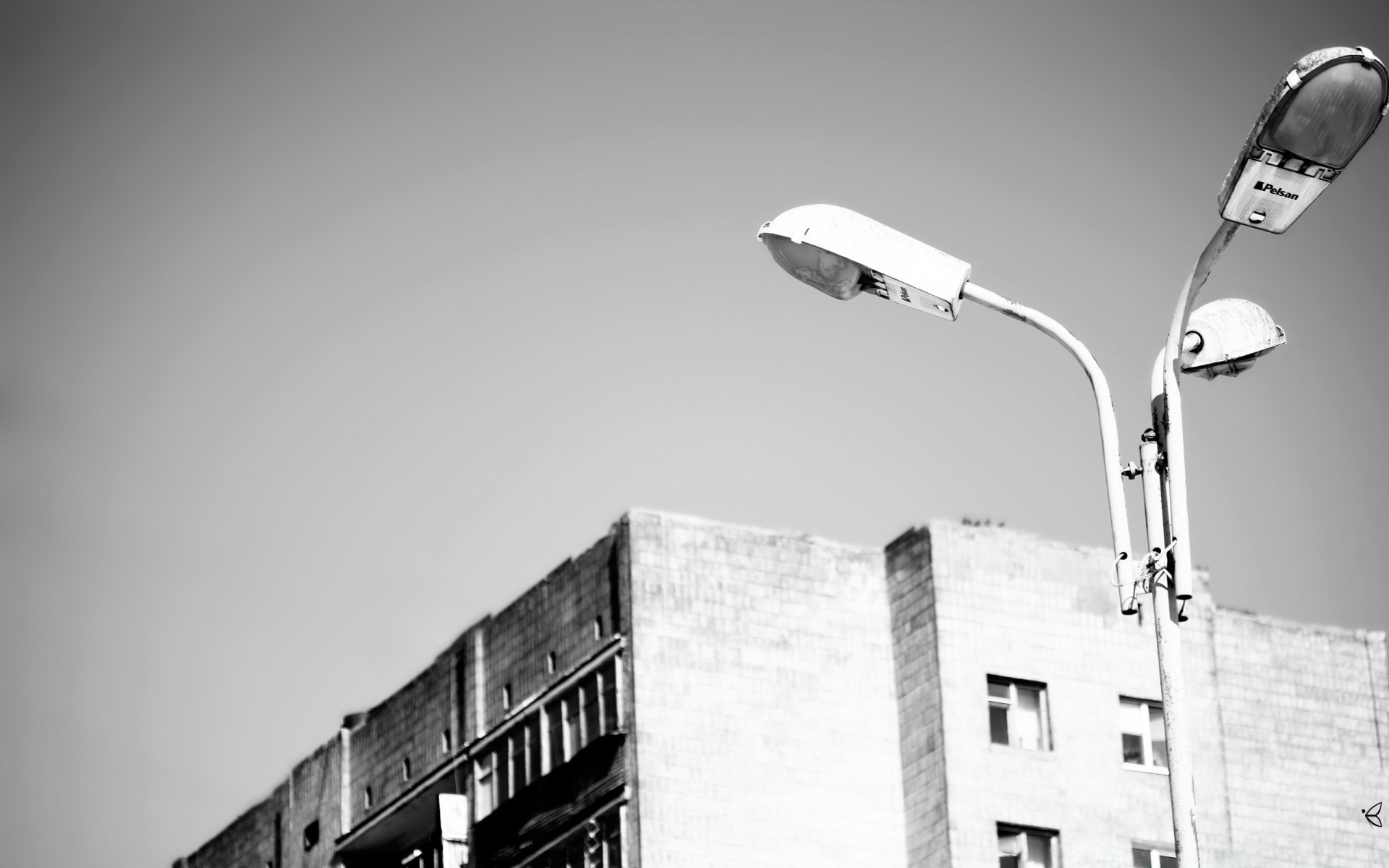 black and white monochrome street light outdoors one