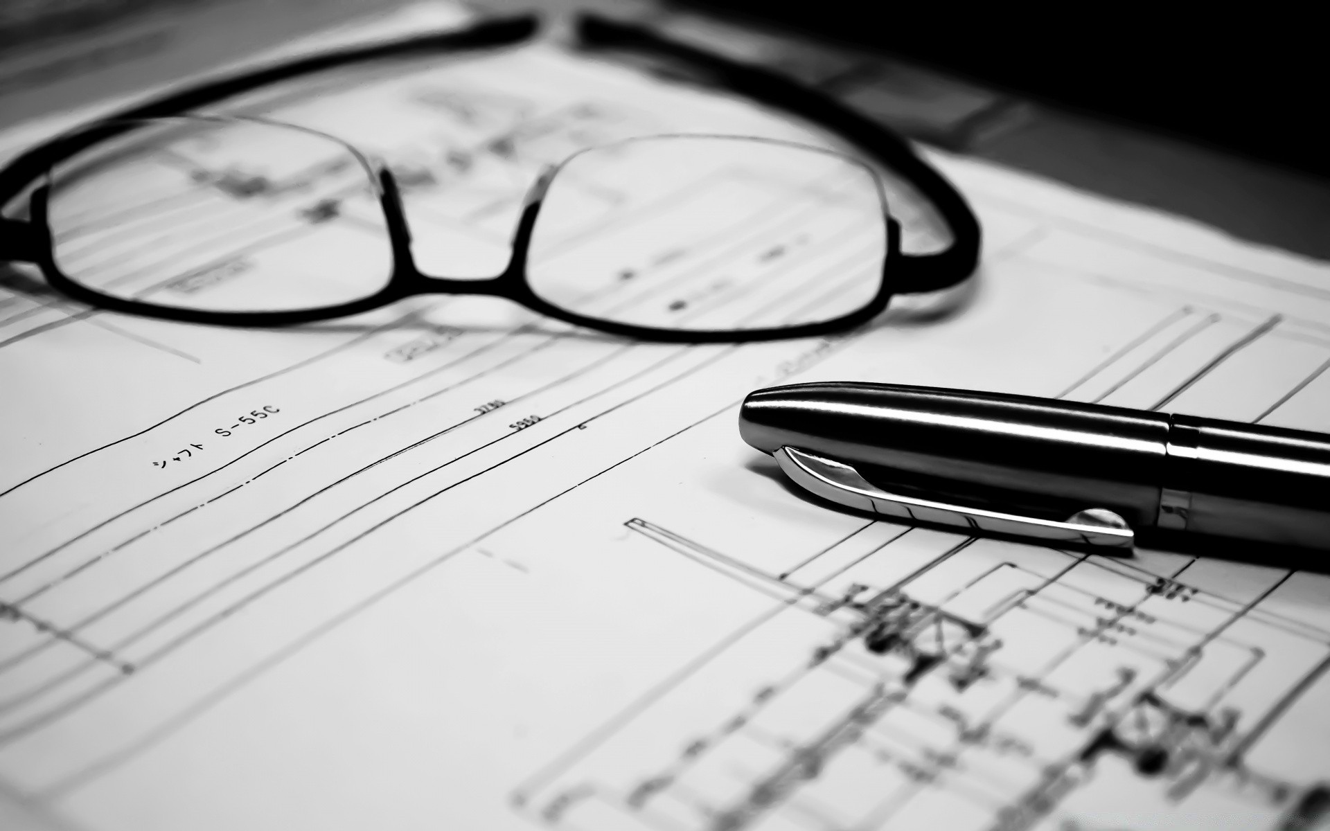black and white composition business data paper money eyeglasses document finance financial office graph commerce diagram pencil computer preparation management research