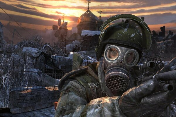 the Church the ruined city gas mask Metro 2033