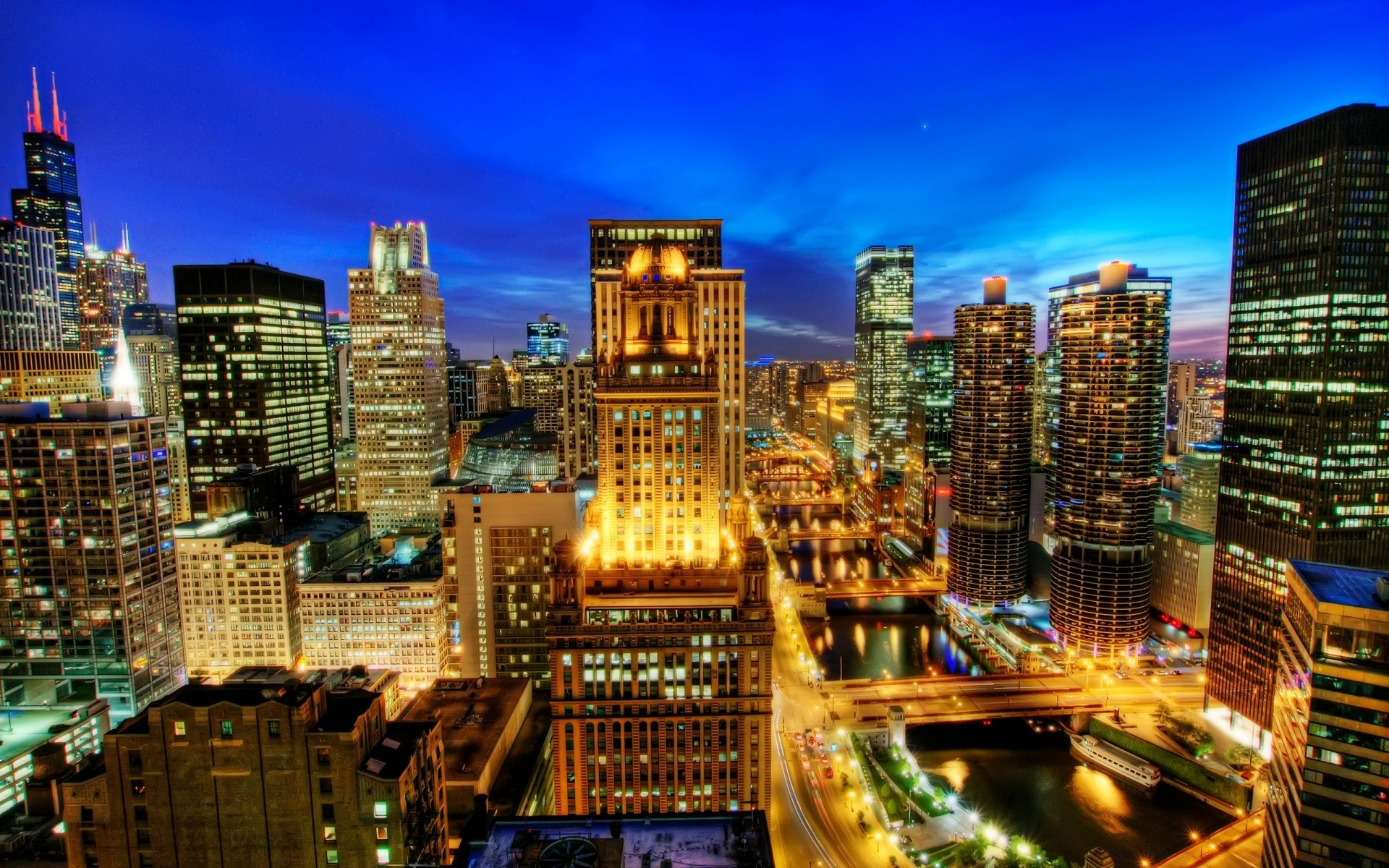 Chicago At Night Free Wallpapers