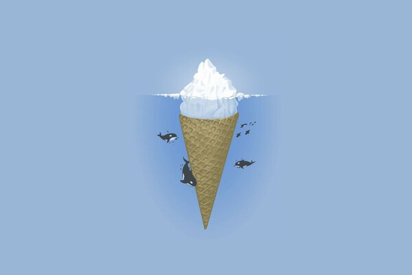 ocean iceberg Minimalism killer whales ice cream sea
