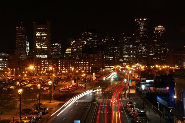 Boston Night Traffic