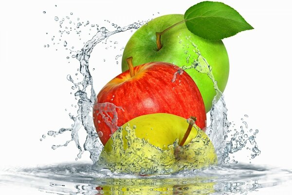 Apples Splashing Water