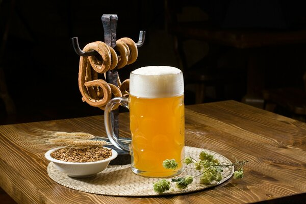 Beer Pint And Pretzels