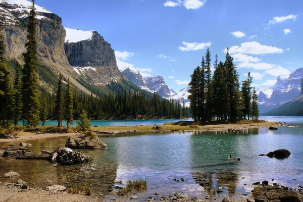 island forest landscape mountains nature lake Canada