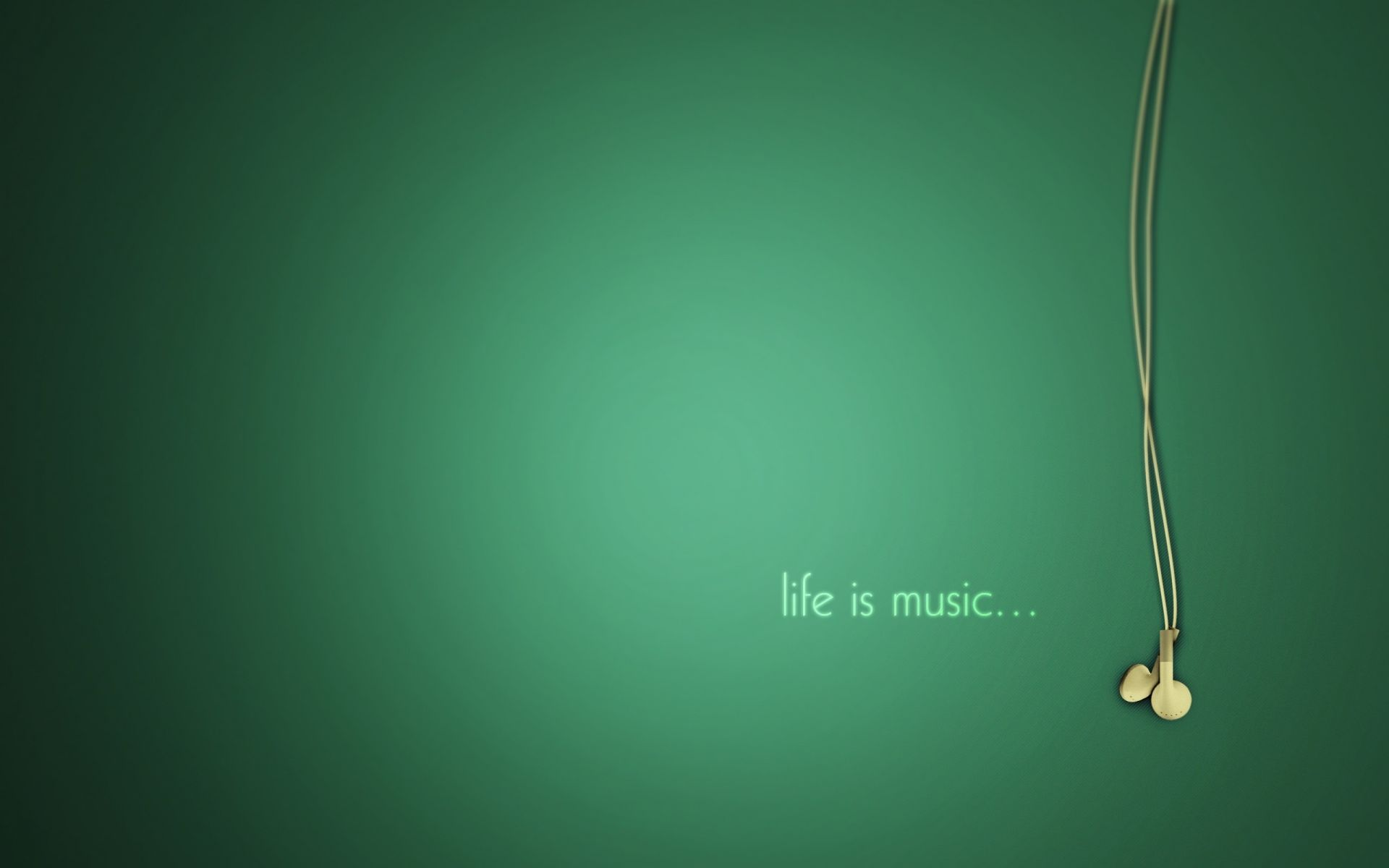 The music is beautifully green headphones minimalism