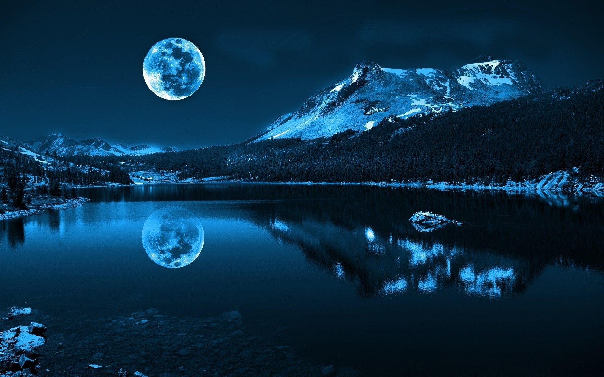 river landscape Nature sea mountain moon snow water