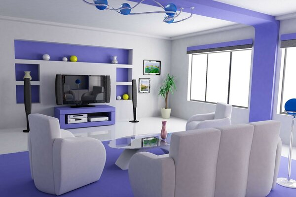 The house is beautiful and Comfort living room white blue interior television