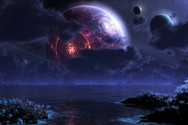 Luna digital night planet sea Phraxis moon