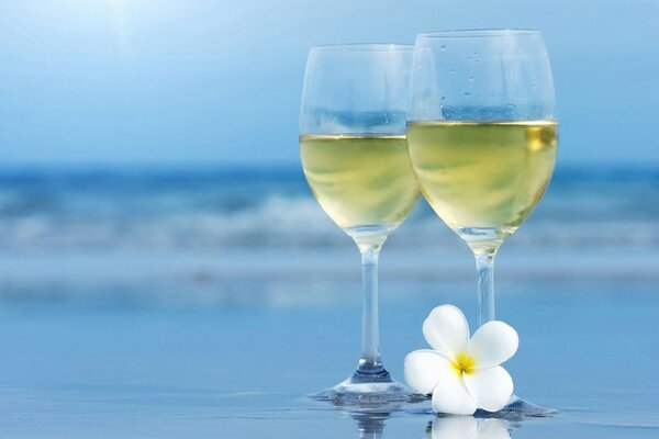 wine glasses sea