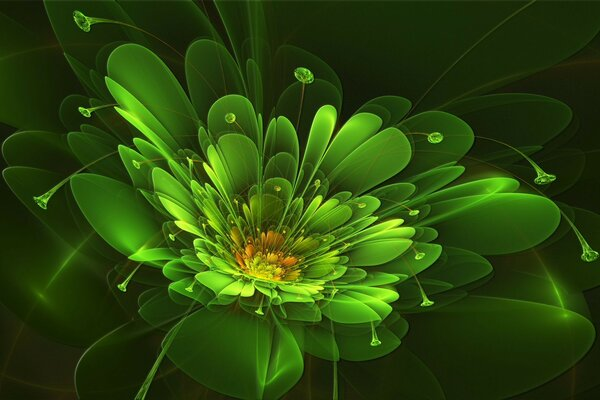 Green April flower abstraction