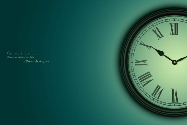 Clock word time Shakespeare expression green