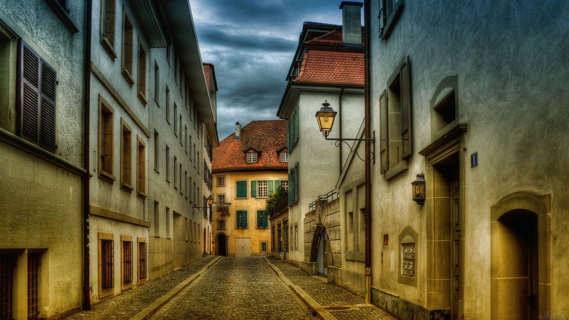 city street architecture house old building travel urban window alley narrow town gothic vintage light