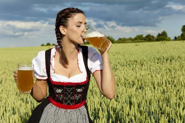 German Woman Drinking Beer