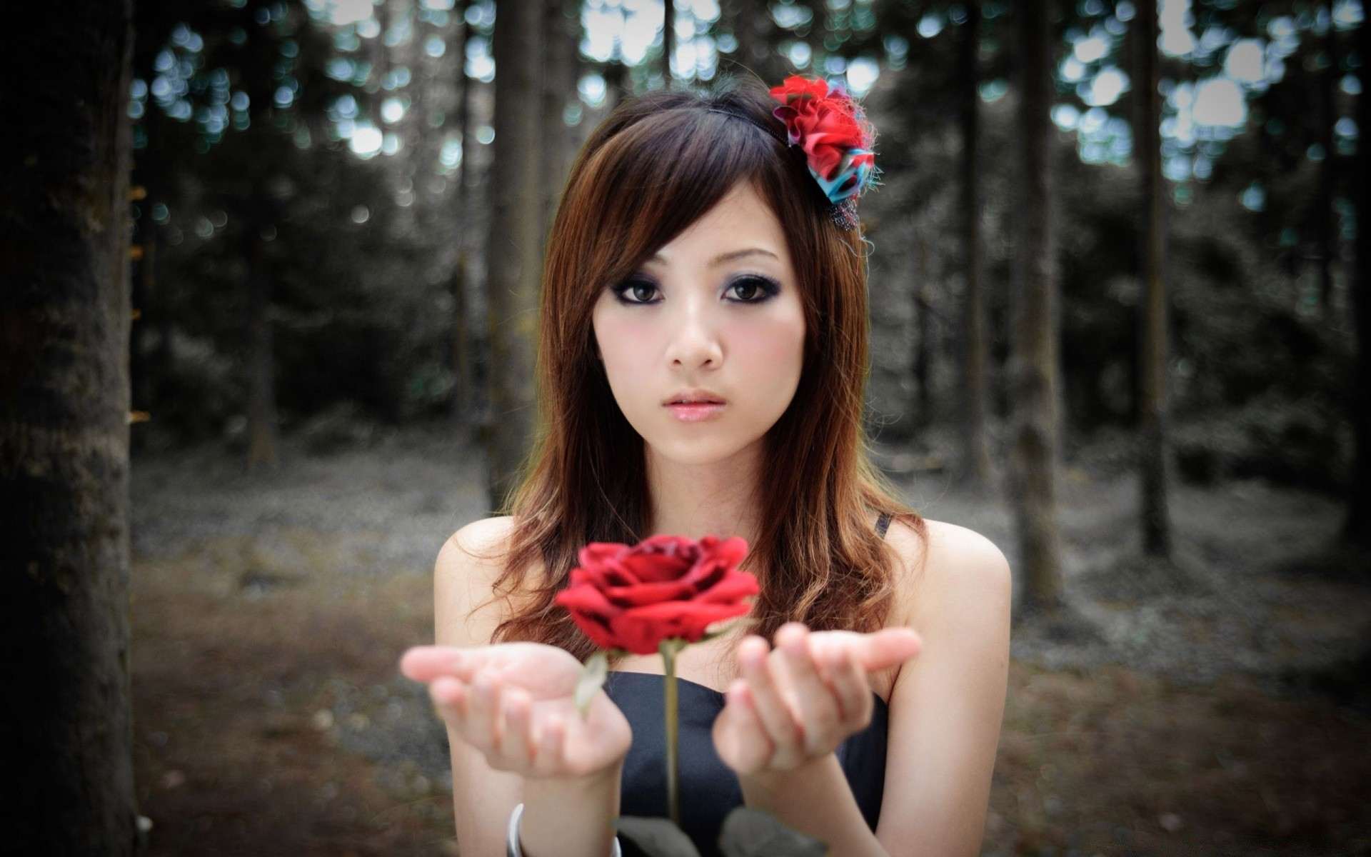 Girl With Red Rose Android Wallpapers