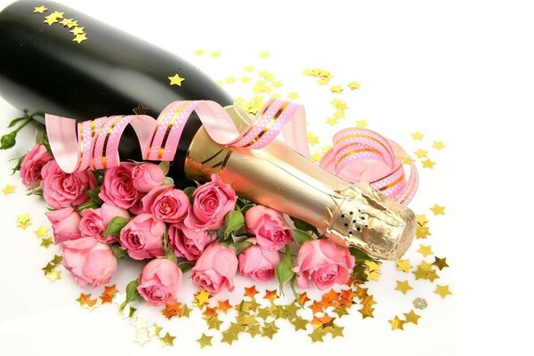 stars Rose champagne bottle