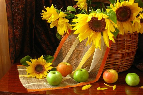flowers apples still life petals fruit Sunflowers