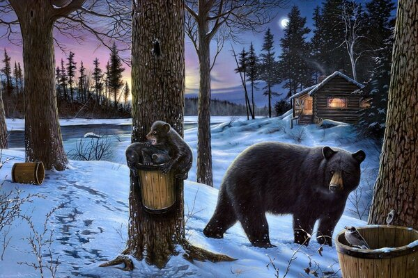 3D graphics of the bears in the woods