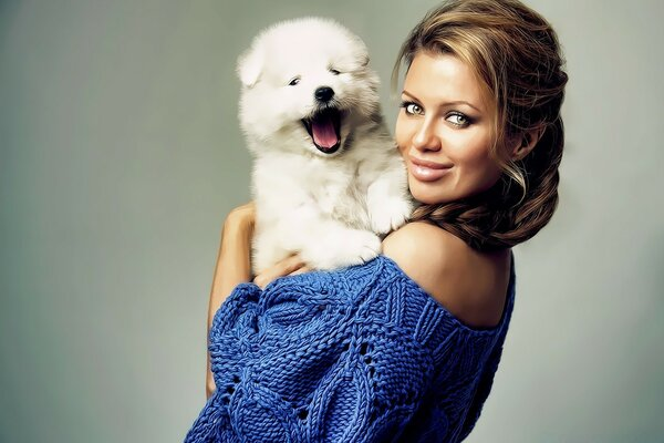 Pretty Woman With Puppy