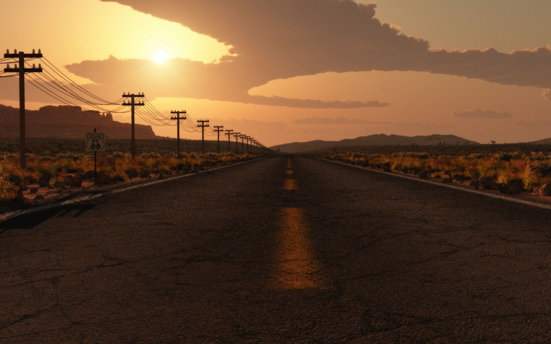 Highway to road to nowhere track in the desert. Android ...